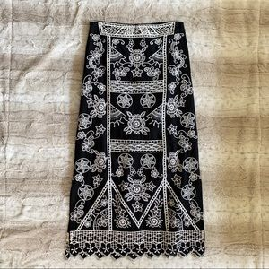 Yoana Baraschi Embroidered Maxi Skirt